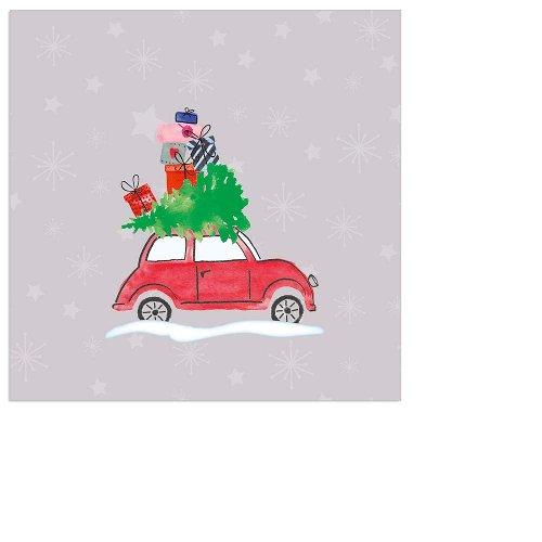 Serviette Mini Weihnachten Auto taupe
