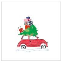 Christmas mini napkin car white