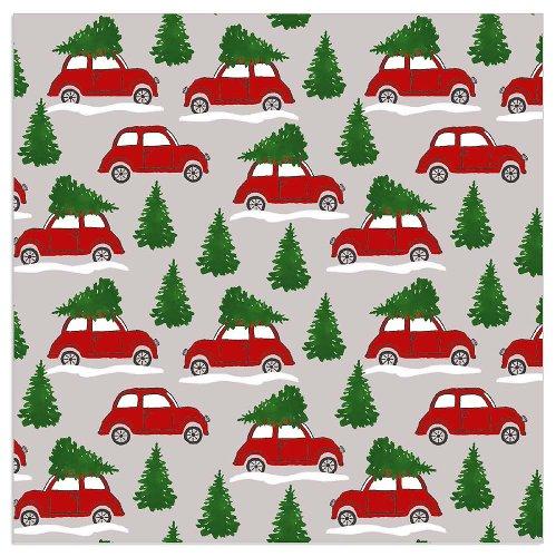 Christmas napkin cars taupe