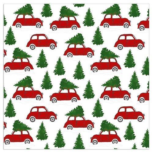 Serviette Weihnachten Autos Weiß