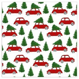Christmas napkin cars white