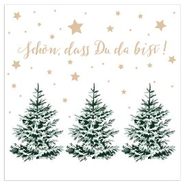 Christmas napkin fir trees white
