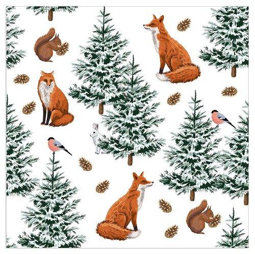 Serviette Weihnachten Fuchs Weiß