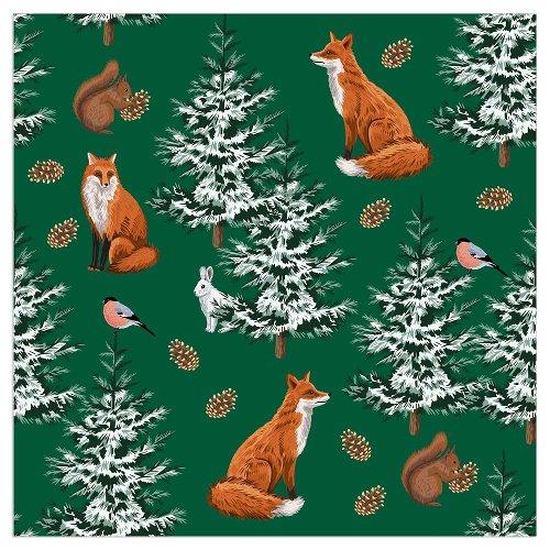 Serviette Weihnachten Fuchs Tannengrün