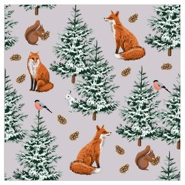 Christmas napkin fox taupe