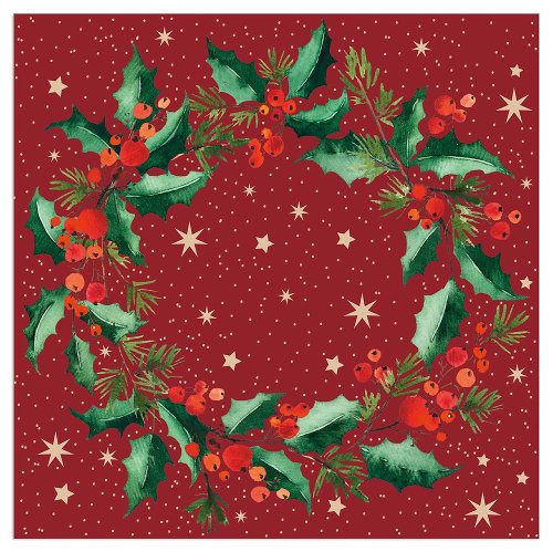 Christmas napkin wreath bordeaux