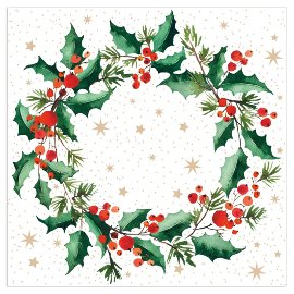 Christmas napkin wreath white