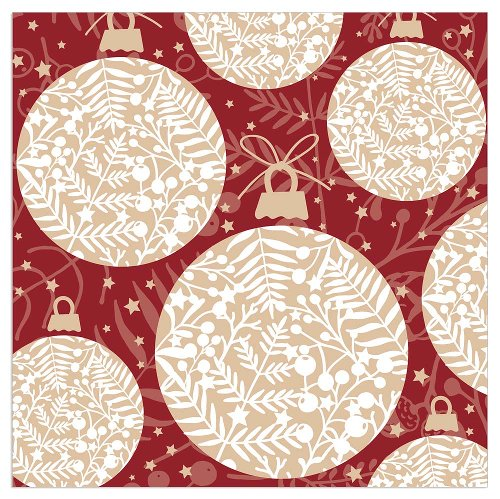 Serviette Weihnachten Kugeln Bordeaux