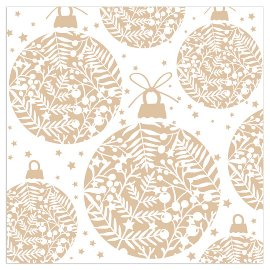 Serviette Weihnachten Kugeln Weiß