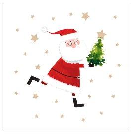 Christmas napkin Santa white