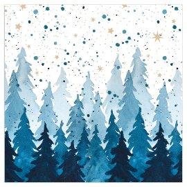 Serviette Weihnachten Tannenwald Nachtblau