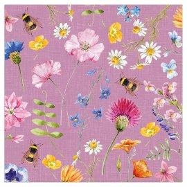 Serviette Blütenwiese lila