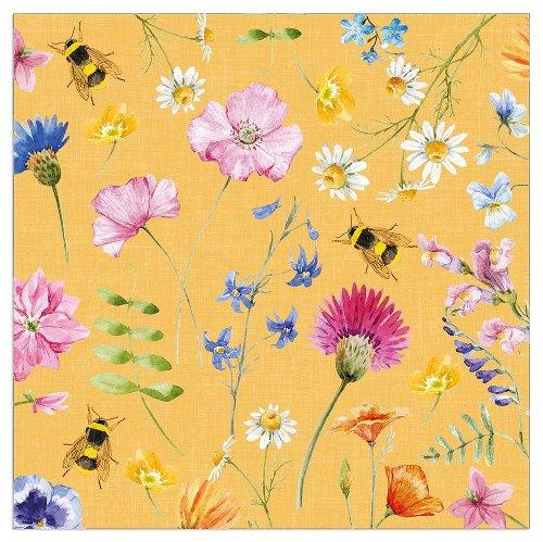 Serviette Blütenwiese gelb