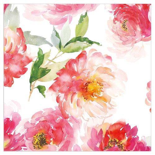 Napkin watercolour flowers white