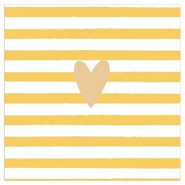 Serviette Herz Streifen gelb