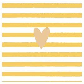 Napkin heart stripes yellow