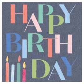 Serviette Happy Birthday Kerzen anthrazit