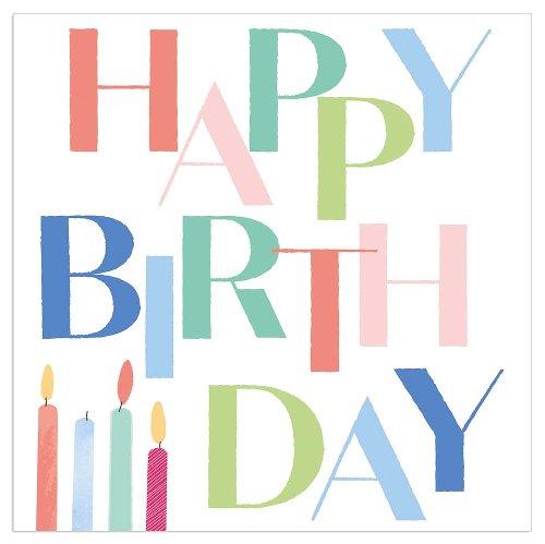 Napkin Happy Birthday candles white