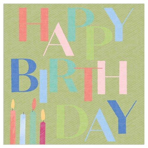 Napkin Happy Birthday candles green