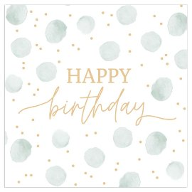 Napkin happy birthday dots sage