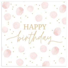Serviette Happy Birthday Punkte nude