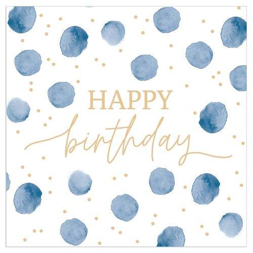 Serviette Happy Birthday Punkte indigo
