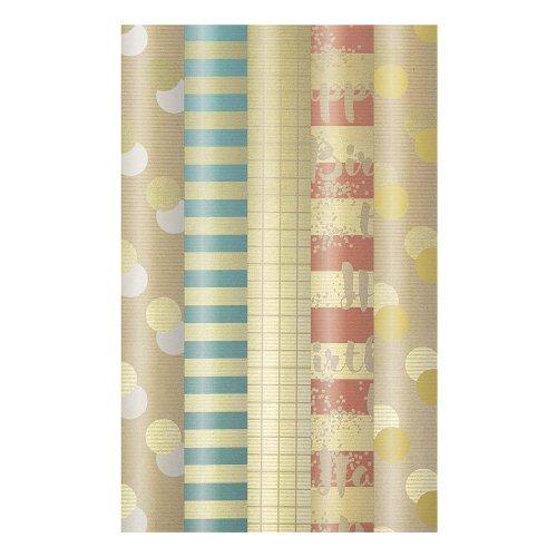 Wrapping paper set 5 rolls kraft paper stripes dots