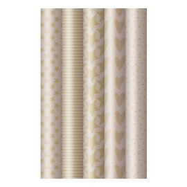 Wrapping paper set 5 rolls kraft paper xmas trees stars