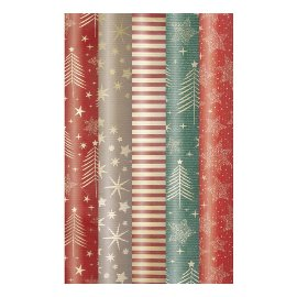 Wrapping paper set 5 rolls xmas stars fox
