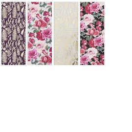 Wrapping paper set 4 rolls flowers roses ferns