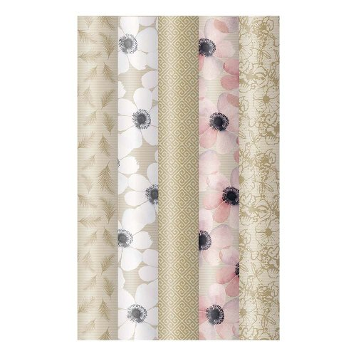 Wrapping paper set 5 rolls nature kraft paper flowers feathers patterns