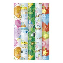 Wrapping paper set 5 rolls kids birthday