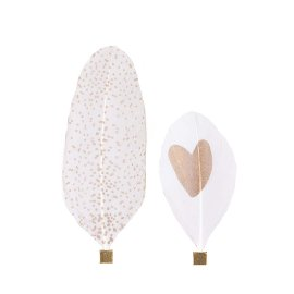 Feather magnet heart dots double assorted