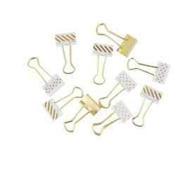 Papierklemmen Binder Clips Gold Weiß Punkte Streifen