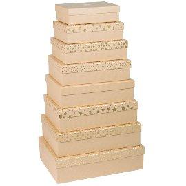 Geschenkboxen Set Kraftkarton mit gold