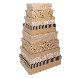 Gift boxes kraft paper 8 pcs. set strips