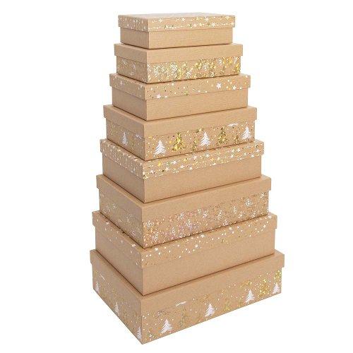 Geschenkboxen Weihnachten 8er Set Kraft Sterne