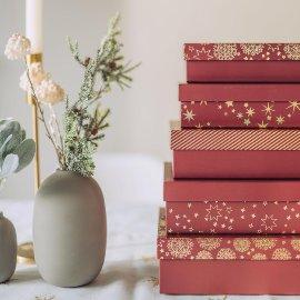 Geschenkboxen Weihnachten 8er Set Bordeaux