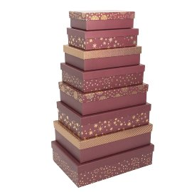 Gift boxes Christmas 8 pcs. set burgundy