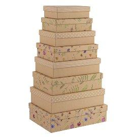 Geschenkboxen Organics 8er Set Kraftpapier Blümchen Blätter