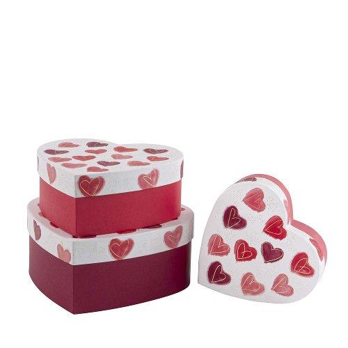Gift boxes 3pcs. Set heart aquarell