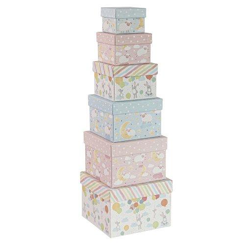 Geschenkboxen 6er Set Quadratisch Baby Schäfchen Hase