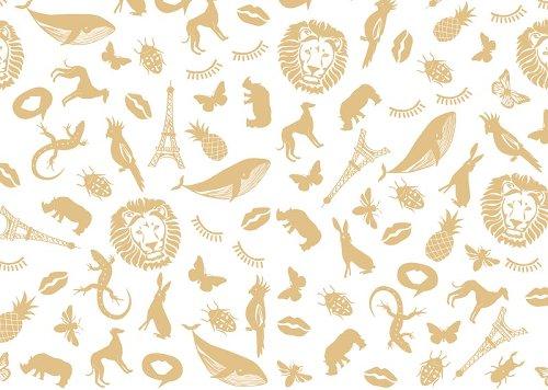 Geschenkpapier Patch Motive Gold