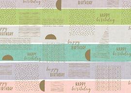Geschenkpapier Happy Birthday Streifen Gold
