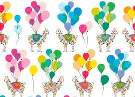 Wrapping paper llama balloons