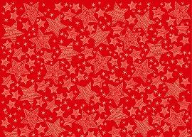 Geschenkpapierbogen Sterne Rot