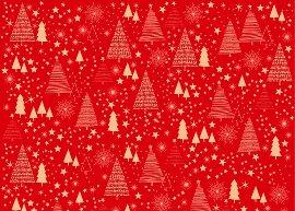 Geschenkpapierbogen Bäume Rot