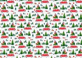 Geschenkpapierbogen Auto Weihnachtsbäume