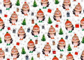 Geschenkpapierbogen Eule Weihnachtsbäume