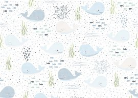 Wrapping paper baby whale blue
